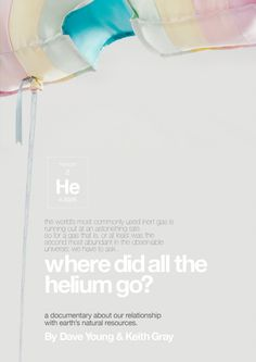 Did you know that by the year 2015 the world's Helium is due to run out?