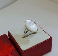 188 mm Ring Silber 925 Perlmuttplatte weiß SR504 von Schmuckbaron