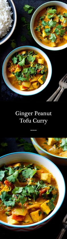 Ginger Peanut Tofu Curry   A weeknight-friendly and immune boosting dinner for the change of seasons. Creamy, spicy, protein-packed! Vegan and gluten free.