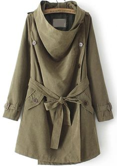 Buy Army Green High Neck Long Sleeve Belt Trench Coat from abaday.com, FREE shipping Worldwide - Fashion Clothing, Latest Street Fashion At Abaday.com