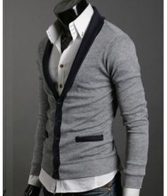 Contrast Mens Cardigan Slim fit contrast sweater with contrast pockets, hem and interior. It is definitely a great addition to any outfit rather dresser or casual. Slim fit and available in black, dark grey and light grey