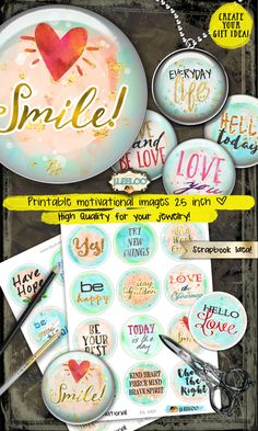 MOTIVATIONAL 2.5 inch circle quote -  digital collage resin pendant charm card making bezel trays magnet - watercolors printable - tn492 by byJLeeloo on Etsy