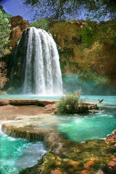 Havasu Falls on the Havasupai Indian Reservation in Arizona
