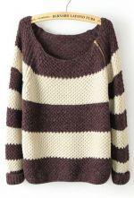 Coffee White Striped Long Sleeve Zipper Sweater $32.74