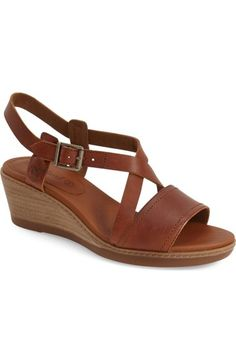 Timberland 'Wollaston' Cross Stap Slingback Wedge Sandal leather brown 2.25h sz7.5 109.95 5/16