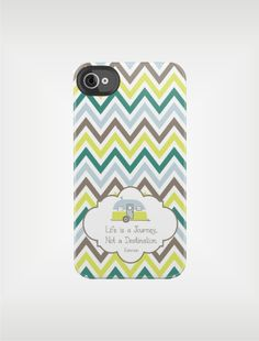 Personalized Chevron iPhone Case 4 / 4S or 3G - Life is a Journey Not a Destination- Custom Designed Cover - original design by a drop of golden sun.