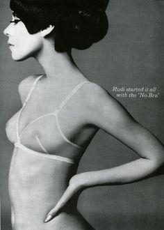 1960s Rudi Gernreich advertisement, via http://agnautacouture.com/2012/11/25/rudi-gernreich-misunderstood-fashion-prophet/