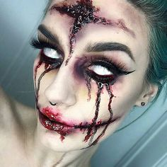 creepy makeup. White on eyelids for effect when closed if you don't have contacts