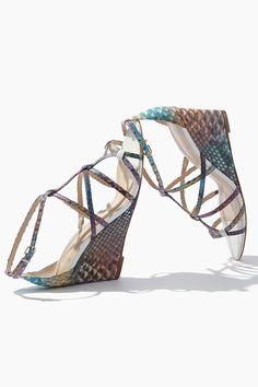 31103279734d Alexandre Birman - Rainbow Python Demi-Wedge Sandals