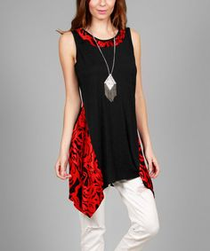 Love this Black & Red Sidetail Tunic on #zulily! #zulilyfinds