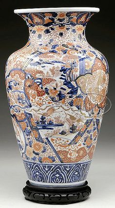 """Late 19th/early 20th century, Japan. Imari ware vase having decoration of flowers, figures, and brocade patterns. SIZE: 18"""" t. PROVENANCE: Piczon collection."""