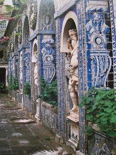 Columns, sculptures,Roman arches and azuleijos at the Fronteira Palace, Lisboa,Portugal. Braga Portugal, Visit Portugal, Portugal Travel, Spain And Portugal, Beautiful Architecture, Beautiful Buildings, Beautiful Places, Portuguese Culture, Portuguese Tiles