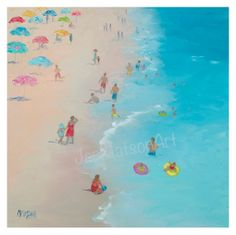 Beach Painting with people beach art umbrellas and by JanMatsonArt, $85.00