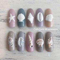 Nail Art Hacks, Gel Nail Art, Pedicure Nail Art, Acrylic Nails, Aloha Nails, Seashell Nails, Sea Nails, Pretty Nail Art, Gel Nail Designs