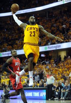 May 26, 2015; Cleveland, OH, USA; Cleveland Cavaliers forward LeBron James (23) dunks the ball during the first quarter against the Atlanta Hawks in game four of the Eastern Conference Finals of the NBA Playoffs at Quicken Loans Arena. Mandatory Credit: Ken Blaze-USA TODAY Sports