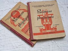 French physics books vintage 1940s school text books by Histoires, $30.00