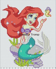 Ariel Disney The Little Mermaid Free Cross Stitch Chart Needlepoint Pattern Beaded Cross Stitch, Cross Stitch Charts, Cross Stitch Embroidery, Pearler Bead Patterns, Perler Patterns, Disney Cross Stitch Patterns, Cross Stitch Designs, Perler Bead Disney, Crochet Chart