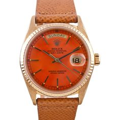 ROLEX Yellow Gold Orange Stella Dial Day-Date Watch Ref. 1803 ❤ liked on Polyvore