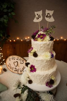 rustic cake at our wedding 6/21/2013 Cambria Pines Lodge, Cambria, Ca