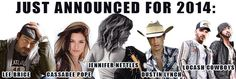 Tweet from Country Jam: Just announced for 2014 Country Jam USA
