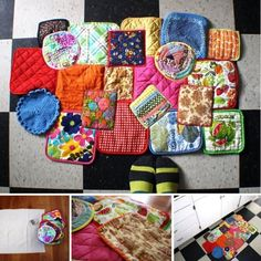 I love this! recycled potholder rug
