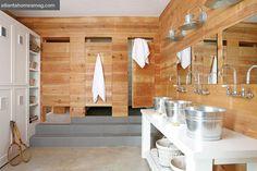 Cabin Style Boys Bathroom - Country - bathroom - Atlanta Homes & Lifestyles Small Cabin Bathroom, Cabin Bathroom Decor, Pool House Bathroom, Lodge Bathroom, Cabin Bathrooms, Bathroom Ideas, Locker Room Bathroom, Shared Bathroom, Basement Bathroom