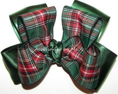 Green Plaid Hair Bow Red Gold Black Scottish by accessoriesbyme