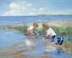 Best Friends by Sally Swatland - 16 x 20 inches Signed impressionist beach scenes children playing contemporary american chase pothast Art Paintings For Sale, Beautiful Paintings, Beach Paintings, Beach Artwork, Art Plage, Chica Anime Manga, Oil Painting Reproductions, Beach Scenes, Pictures To Paint