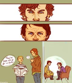 BEST THING EVER! Sherlock and Castiel having a staring contest. While Sherlock may last longer than most people, he will still lose to Cas because Cas, unlike Sherlock, doesn't EVER need to blink. Sherlock Fandom, Sherlock Holmes, Funny Sherlock, Johnlock, Destiel, Decimo Doctor, Fandom Crossover, Fanart, Superwholock