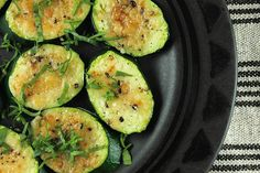 Super quick zucchini gets a dusting of Parmesan and is placed under the broiler until browned and tender. An easy side dish or appetizer when you're in crunch mode.
