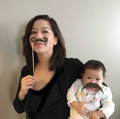 World Languages and Electives Academic Department Chair, Ms. Janna Chiang and her daughter celebrate Moustache Day and School Spirit Week.