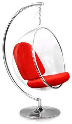 Bubble Chair With Red Seat Cushion