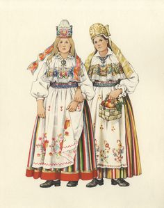 Women from Kadrina and Kuusalu, North Estonia, the middle 19th century.  ERM EJ 415:16, Eesti Rahva Muuseum, http://muis.ee/museaalview/732321