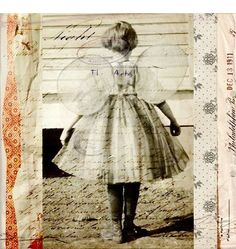 Be What You Are- Farm Girl Child Fairy Wings Cream Natural Beige Sand Mixed Media Collage Print. $11.00, via Etsy.