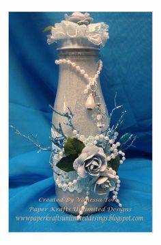 Wine Bottle Crafts, Jar Crafts, Bottle Art, Starbucks Bottles, Frappuccino Bottles, Carafe, Jar Art, 3d Craft, Altered Bottles