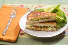 Recipe: Muffuletta-Style Grilled Cheese Sandwiches with Baby Romaine & Pistachio Salad - Blue Apron Muffuletta Sandwich, Sample Recipe, Recipe Box, Vegetarian Recipes, Healthy Recipes, Healthy Food, Original Recipe, The Fresh, Salmon Burgers