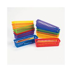 """Classroom Pencil & Marker Baskets, $16.00 for set of 12 assorted colors, 10"""" x 3"""" x 2.25"""" - OrientalTrading.com"""