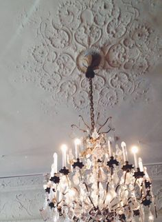 Chandelier & high architectural ceiling