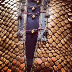 Indian (Rajasthan) armoured coat, early 19th century, made from pangolin scales decorated with gold leaf. Royal Armouries in Leeds, England.