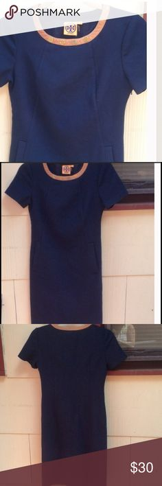 Tory Burch Navy Shift Dress Size 2 wool blend with some Lycra, pre-loved condition small rip in armpit which can be mended, reflected in price Tory Burch Dresses Midi