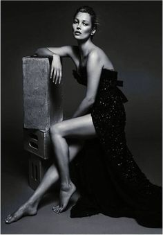 Kate Moss fashion editorial photoshoot black and white photo in sequin evening gown dress