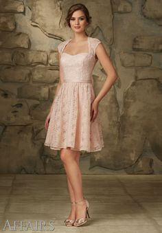 Bridesmaids Dresses by Affairs Lace Satin Belt. Zipper Back. Shown in Blush. Available in all Solid Lace Colors.