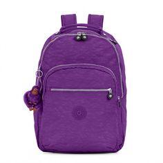 Kipling Seoul Large Laptop Backpack (370 BRL) ❤ liked on Polyvore featuring bags, backpacks, tile purple, backpack bags, daypack bag, rucksack bags, kipling bags and purple bag