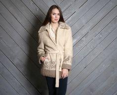 love birds! vintage 70s icelandic wool belted coat.