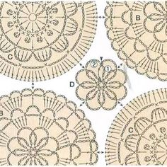 No photo description available. Crochet Circles, Crochet Motifs, Crochet Diagram, Crochet Squares, Thread Crochet, Crochet Granny, Crochet Doilies, Crochet Flowers, Crochet Stitches