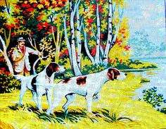 """FREE SHIPPING*//Needlepoint Canvas """"L'oree du Bois"""" A Vintage Neddlepoint of a Hunter and Dogs in th Woods Near the Lake. //On SPECIAL!!"""