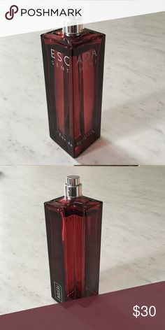 Men's Escada Sentiment Cologne Escada eau de toilette cologne for men. 3.4 oz bottle. My husband only used this maybe once. You can see by photo that the bottle is full. No cap or box. Escada Makeup