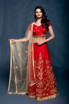 Red lehenga with mughal inspired embroidery from AO by Anita Ojha