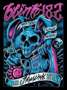 Lazy Labrador Records - Blink 182 with Matt Skiba · Musink 2015 Silkscreen Poster by Brandon Heart, $119.99 (http://lazylabradorrecords.com/blink-182-with-matt-skiba-musink-2015-silkscreen-poster-by-brandon-heart/)