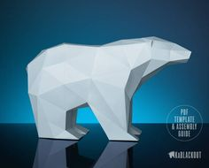 Polar Bear Papercraft Low Poly Paper Bear DIY 3D door KaBlackout